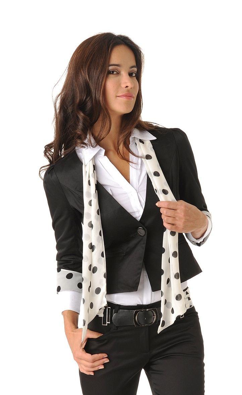 439121ced7e Veste femme avec foulard noir et blanc   Choix et qualité pour Veste femme  avec foulard noir et blanc pas cher dans notre boutique