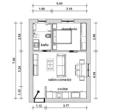 Distribuci n apartamento 7 5 35 metros apartamentos for Distribucion apartamento 50 m2