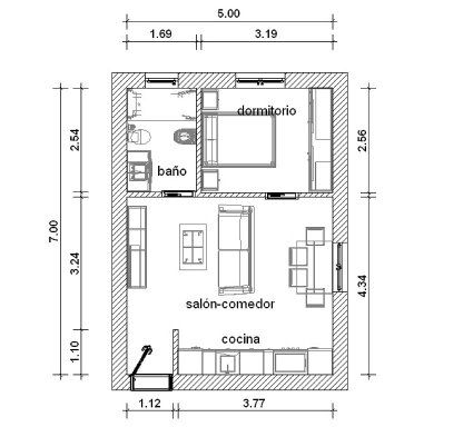 Distribuci n apartamento 7 5 35 metros minipisos for Distribucion apartamentos pequenos