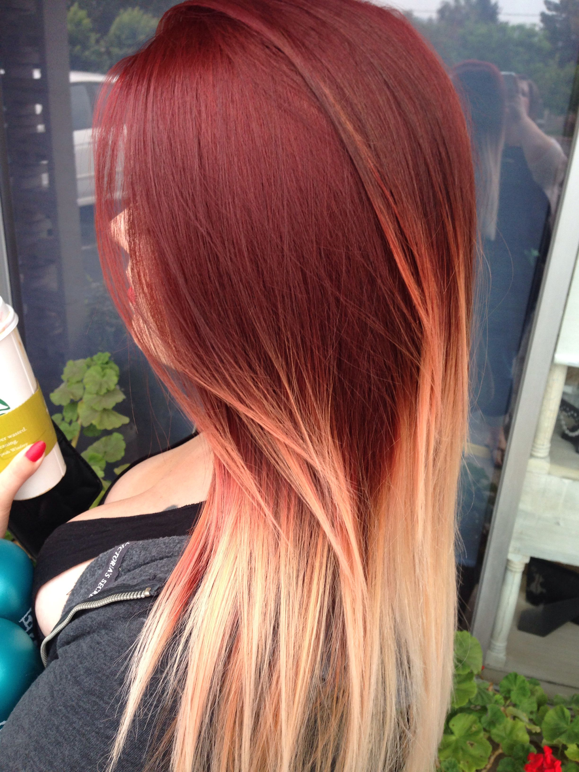 Red And Blonde Ombre Red Blonde Hair Ombre Hair Blonde Red To Blonde