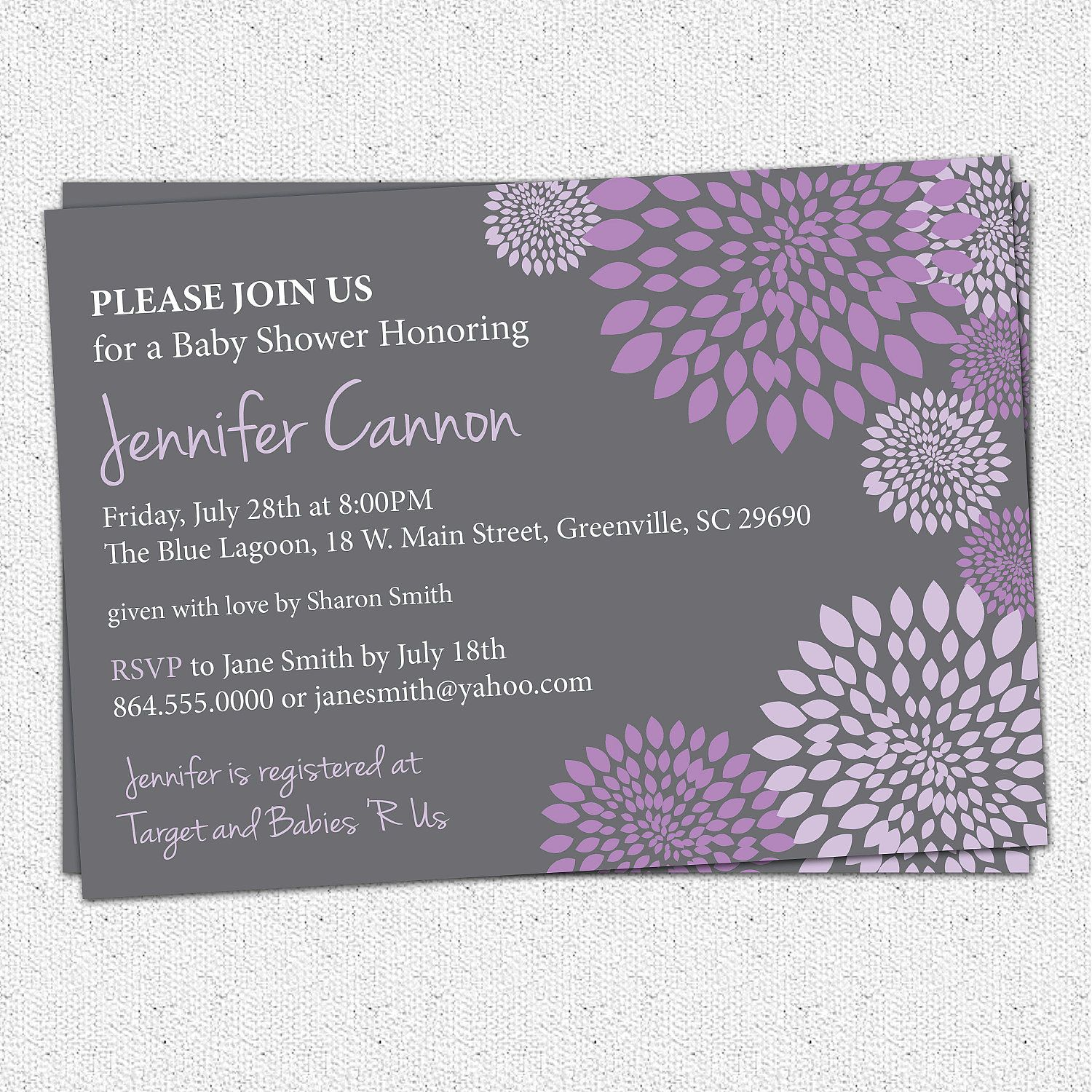 Baby bridal shower invitation printable girl purple and lavender and baby bridal shower invitation printable girl purple and lavender and charcoal grey gray floral modern diy digital file filmwisefo Gallery