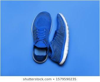 One Pair of lClassic Blue Pantone color sport shoes on blue background #accessory, #activity, #black...