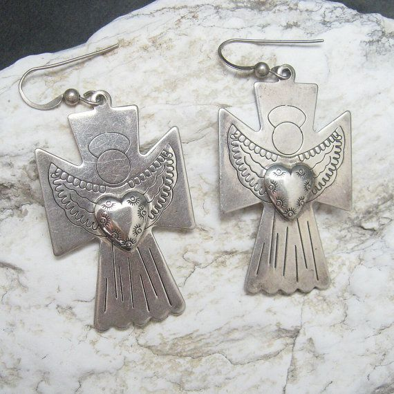 Vintage Sterling Earrings Large Cross Angel with Heart E4201