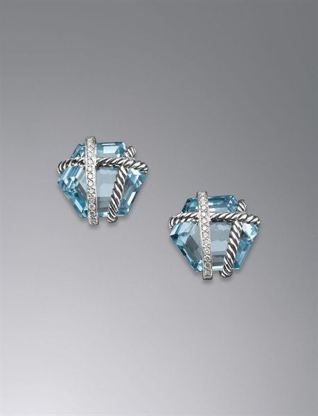David Yurman Women Cable Wrap Earrings Blue Topaz 14mm