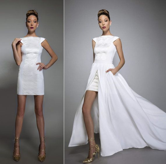 Veruschka convertible wedding dress with pockets and train bare back ...
