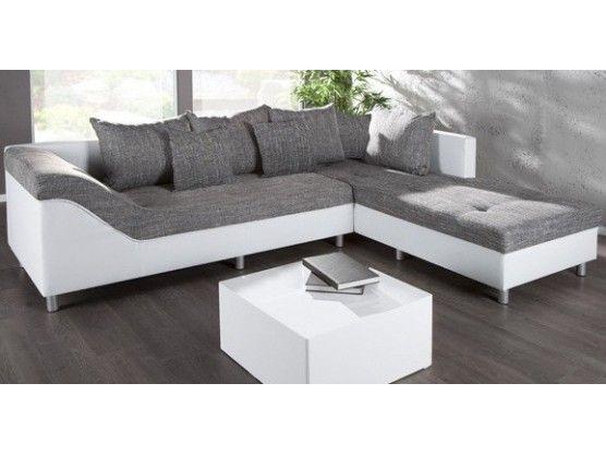 Canapé d\'angle droit Sultan blanc/gris | Angle droit, Angles et Canapés