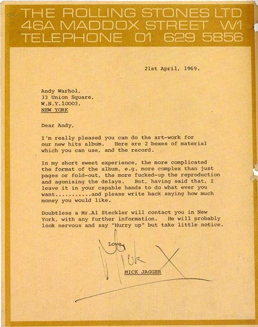 LETTER FROM MICK JAGGER TO ANDY WARHOL, 1969