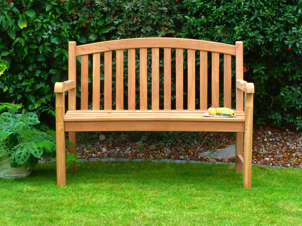 Winchester Single Oval 120cm Teak Garden Bench Shade Garden