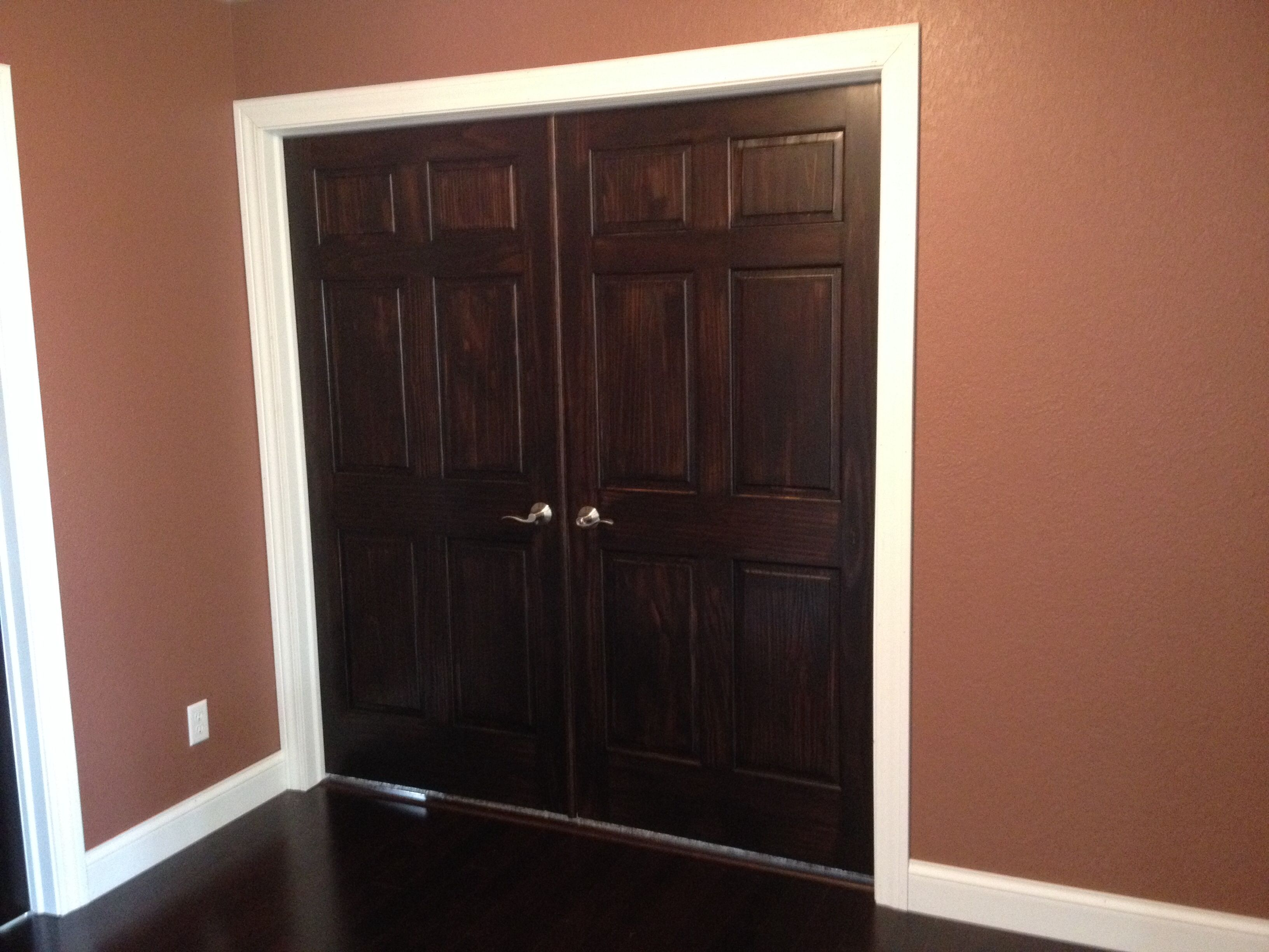 Double Doors, Dark Stained Doors And White Trim