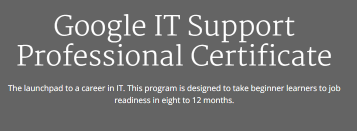 Google It Support Professional Certificate On Coursera