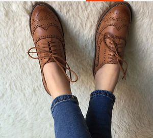 c7573d516f Retro Oxfords Womens Leather Flat Low Heels Brogues Wingtip Lace Up Dress  Shoes