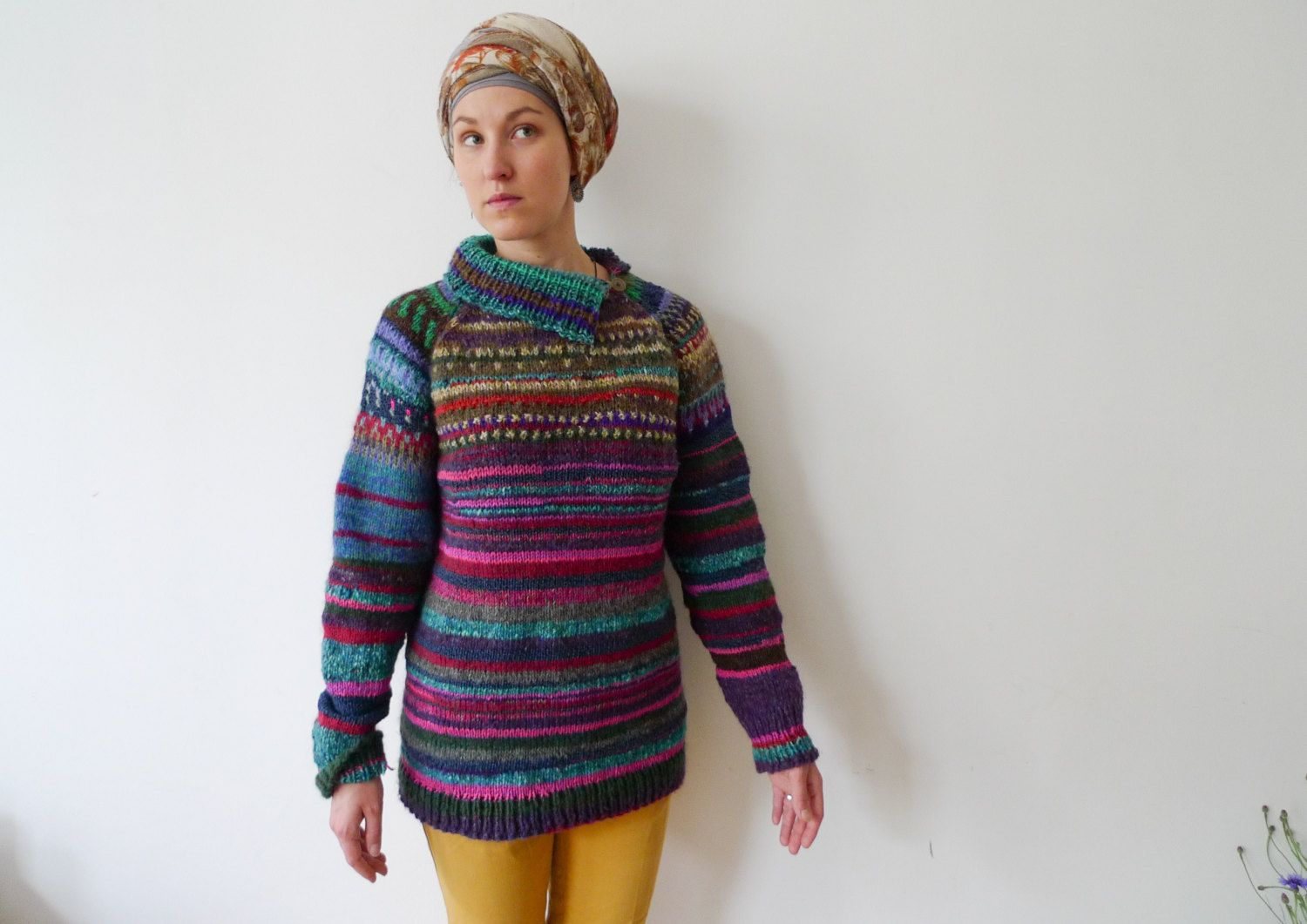 Handmade bright and colourful striped wool sweater by TASSSHA on ...
