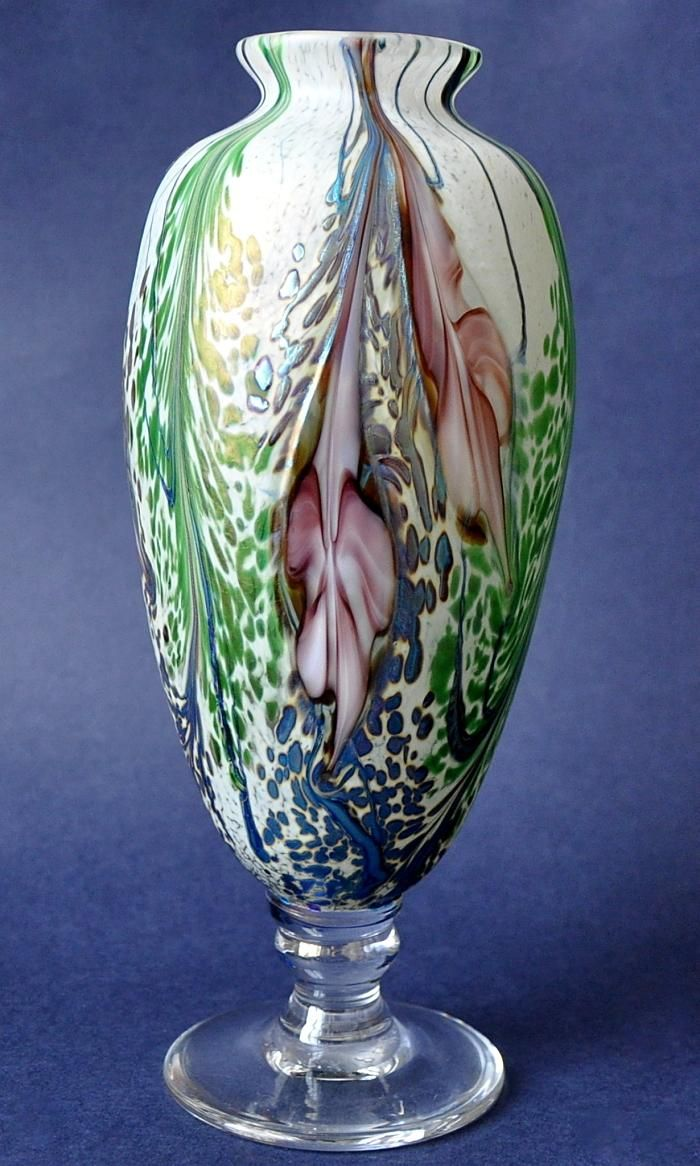 Richard Golding Station Glass Green and White Footed Vase  http://www.bwthornton.co.uk/isle-of-wight-richard-golding-bath-aqua-glass.php