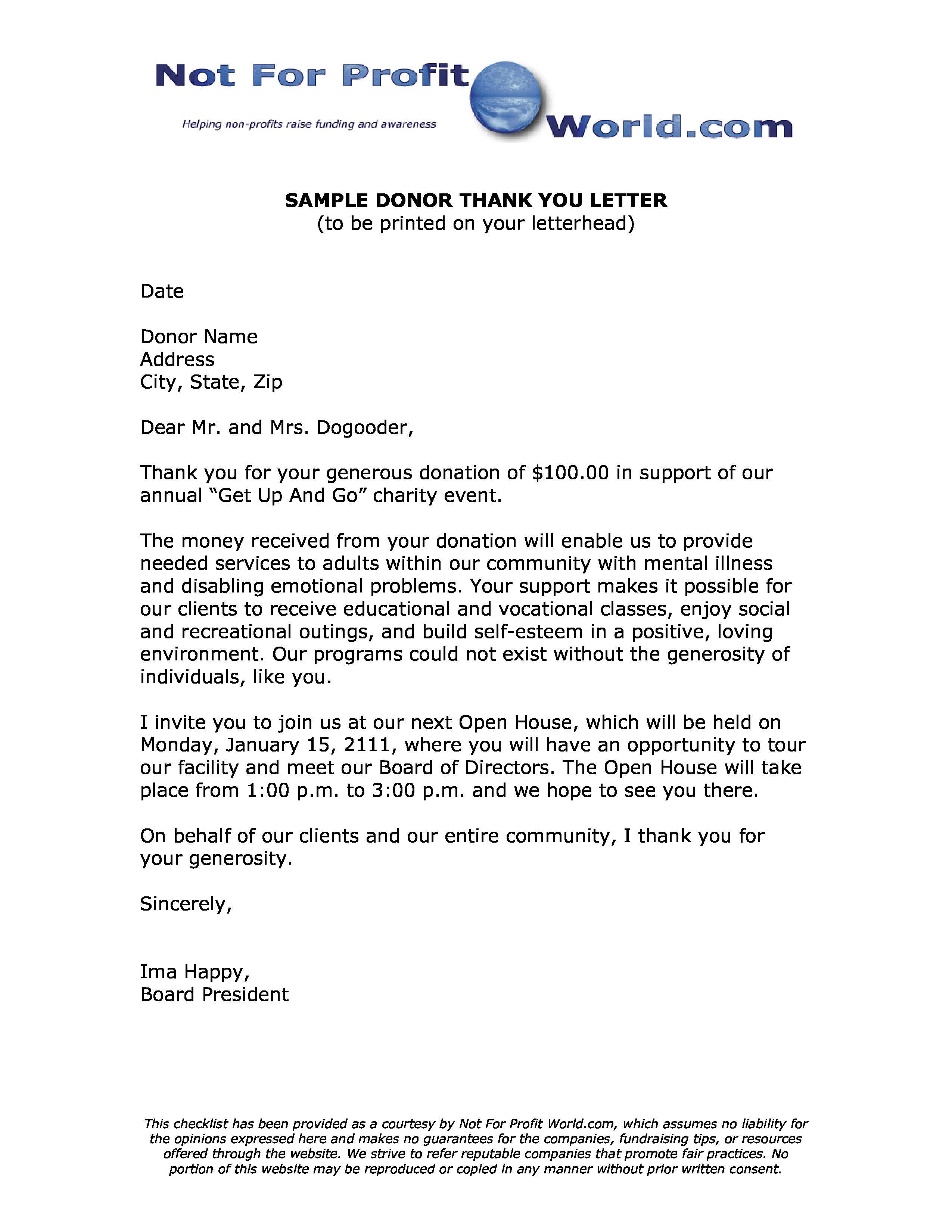 50 Non Profit Thank You Letter Hc7k Di