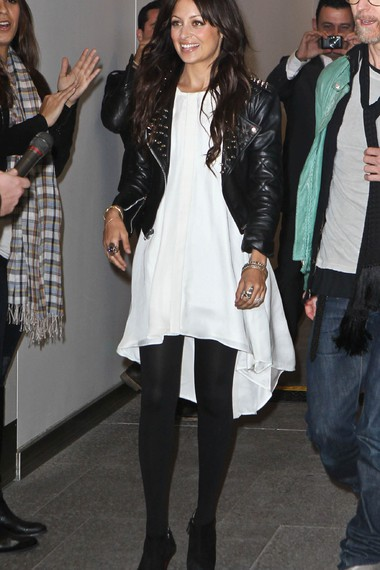White dress black tights and leather jacket love her style ...