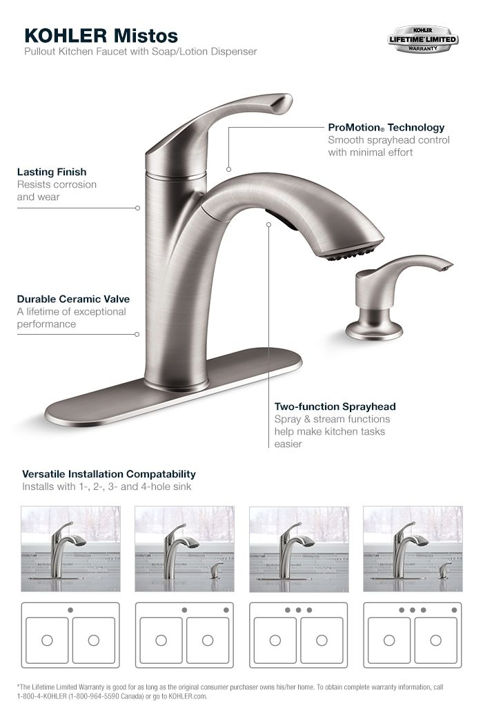 kohler kitchen faucets home depot farmhouse sink mistos single handle pull out sprayer faucet in stainless steel k r72510 sd vs the