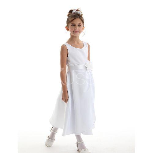 Duchesse-Linie Satin Gürtel Juwel Ausschnitt knöchellanges Kommunionkleid