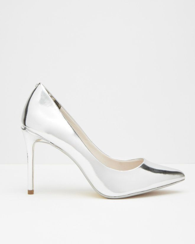 036c05f88 Metallic leather court shoes - Silver Color