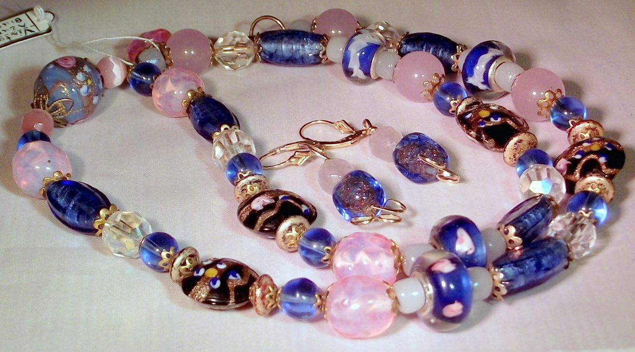 """Blue Murano Wedding-cake Glass, Pink Jade  Tourmaline Necklace,Venetian glass bead By the Light of the Silvery Moon"""" S"""
