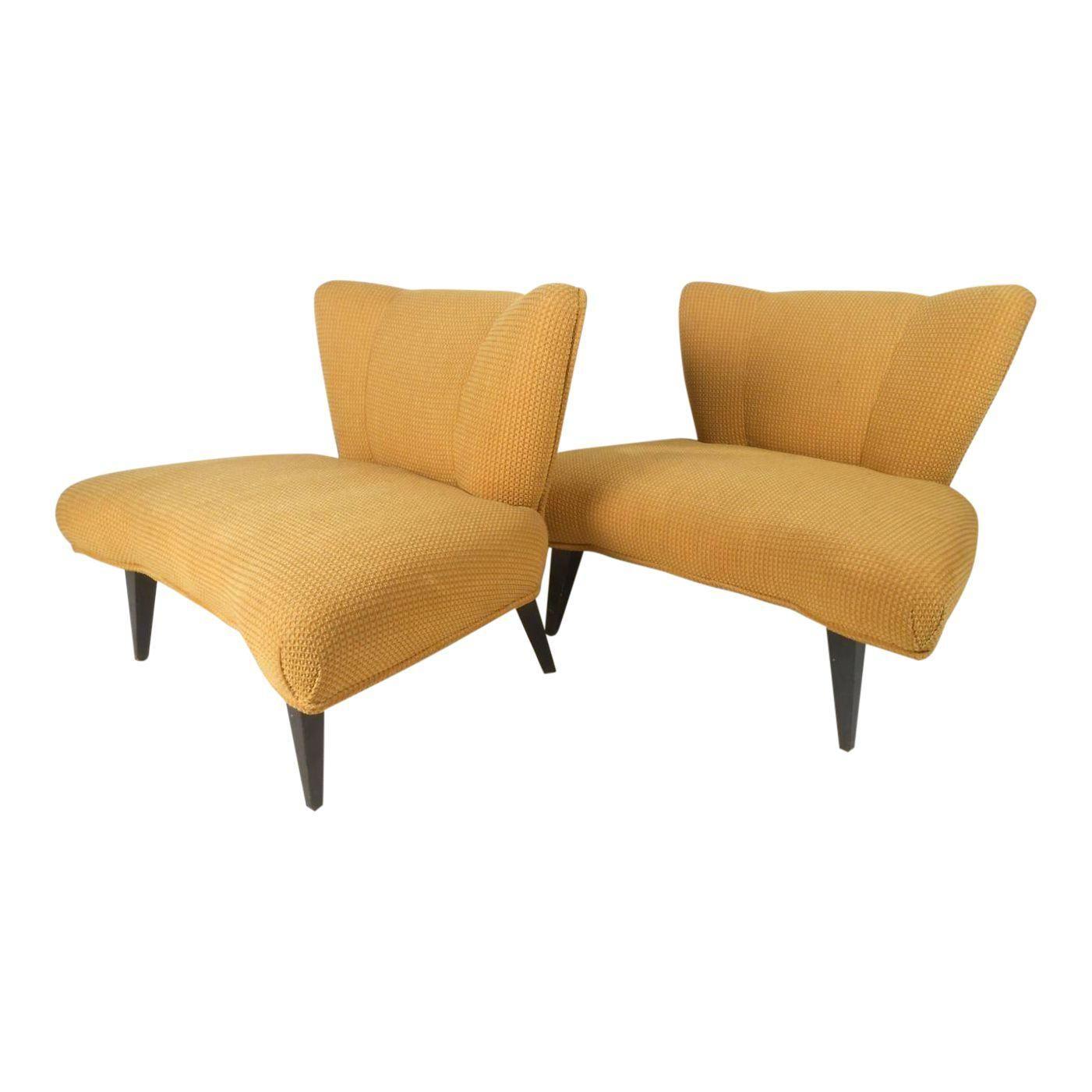 Kroehler Accent Chair Elan Key Pattern: Vintage Modern Slipper Chairs Attributed To Kroehler