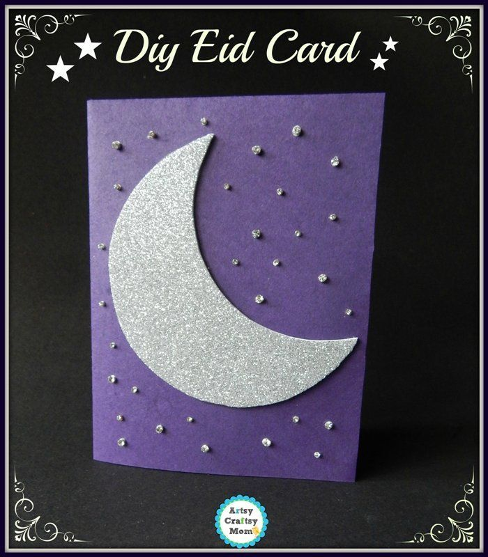 Easiest Crescent Moon Theme Diy Eid Card Eid Cards Ramadan Activities Eid Activities