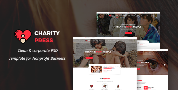 Donations Template Charity Press  Nonprofit Charity & Donations Psd Template