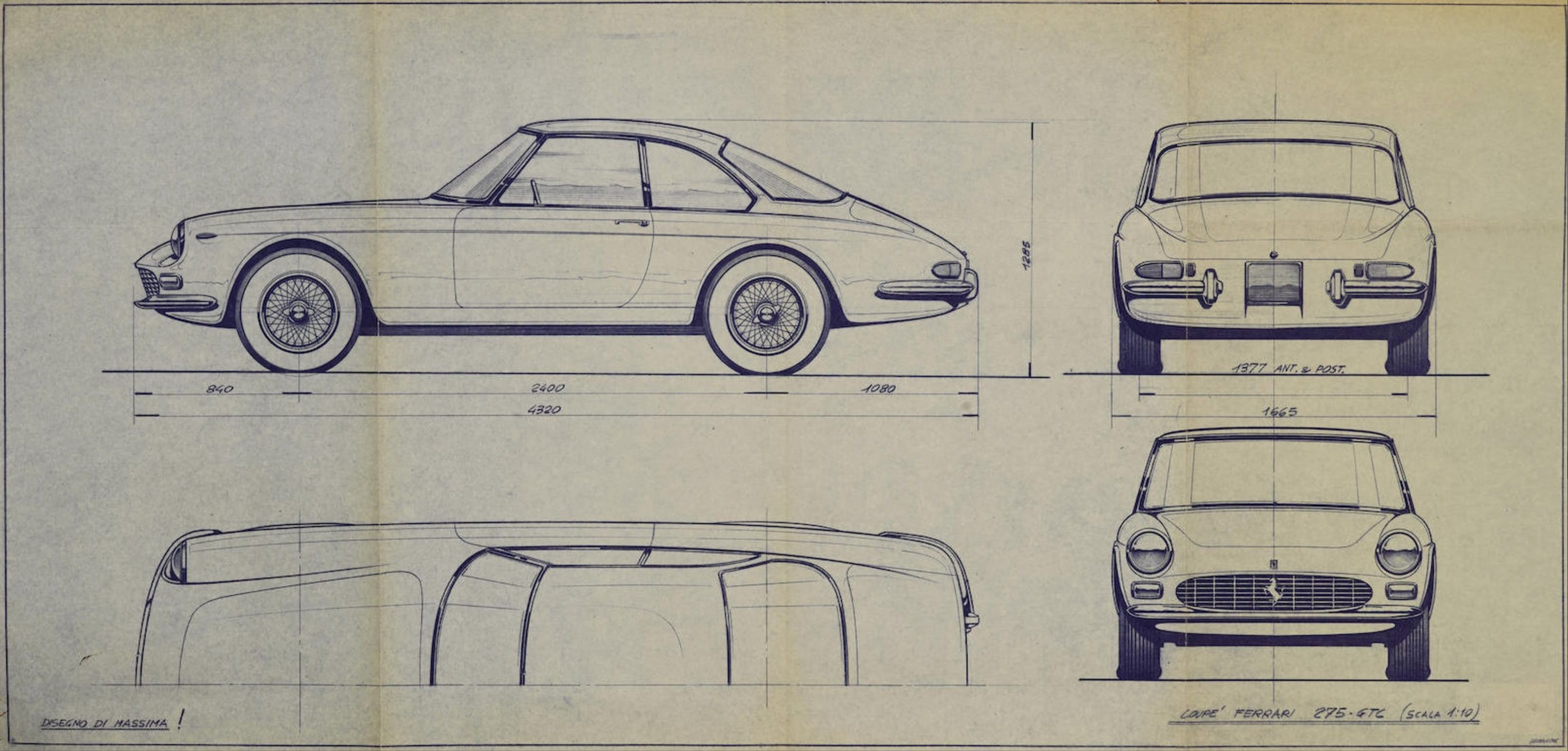 Ferrari 275 GTC Prototype Pininfarina Blueprint