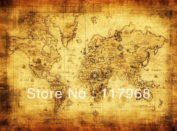 Old Memories, Emitated Ancient World Map Sailing Map Treasure Map ...