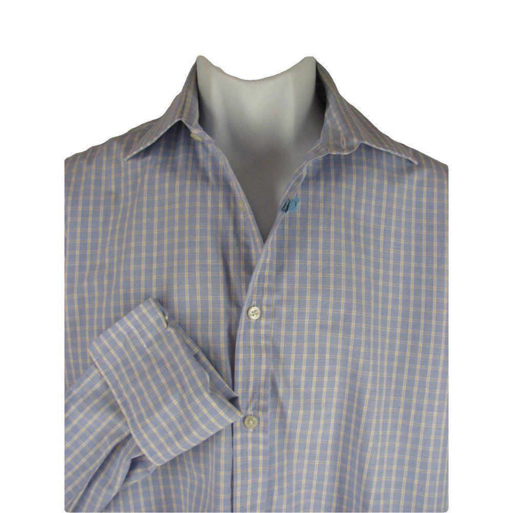 77331e5d Thomas PINK Mens Shirt 15.5-33 Cotton Blue White Tattersall Check .