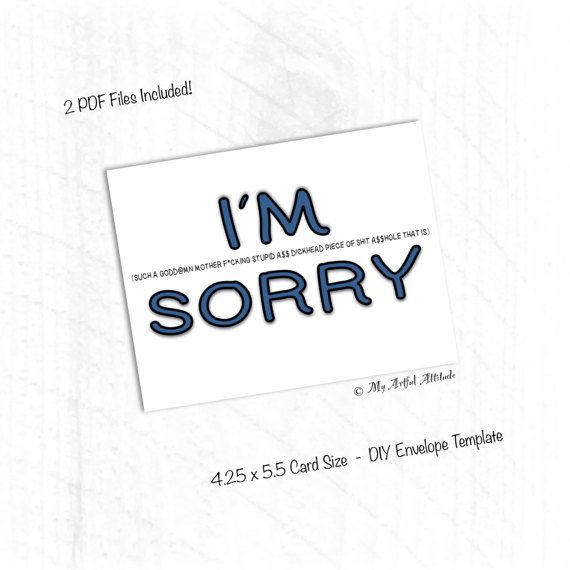 PRINTABLE Card Sorry Card Apology I Suck Iu0027m By MyArtfulAttitude   Free  Printable Sorry Cards  Free Printable Sorry Cards