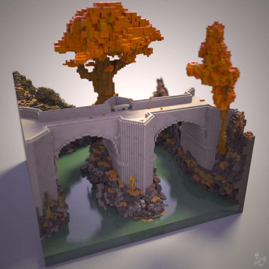#Voxel #Bridge made with #MagicaVoxel. #voxelart