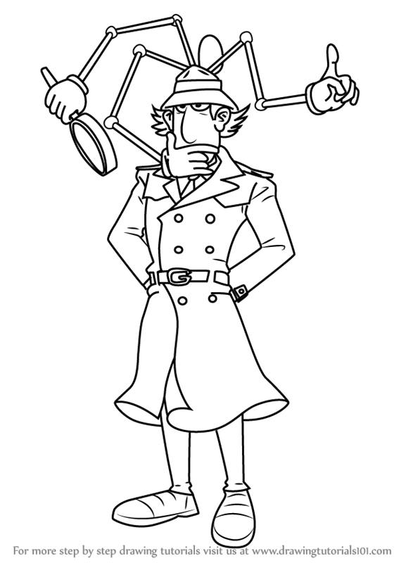 Learn How To Draw Inspector Gadget From Inspector Gadget Inspector Gadget Step By Step Drawing Tutorials Inspector Gadget Drawings Drawing Tutorial