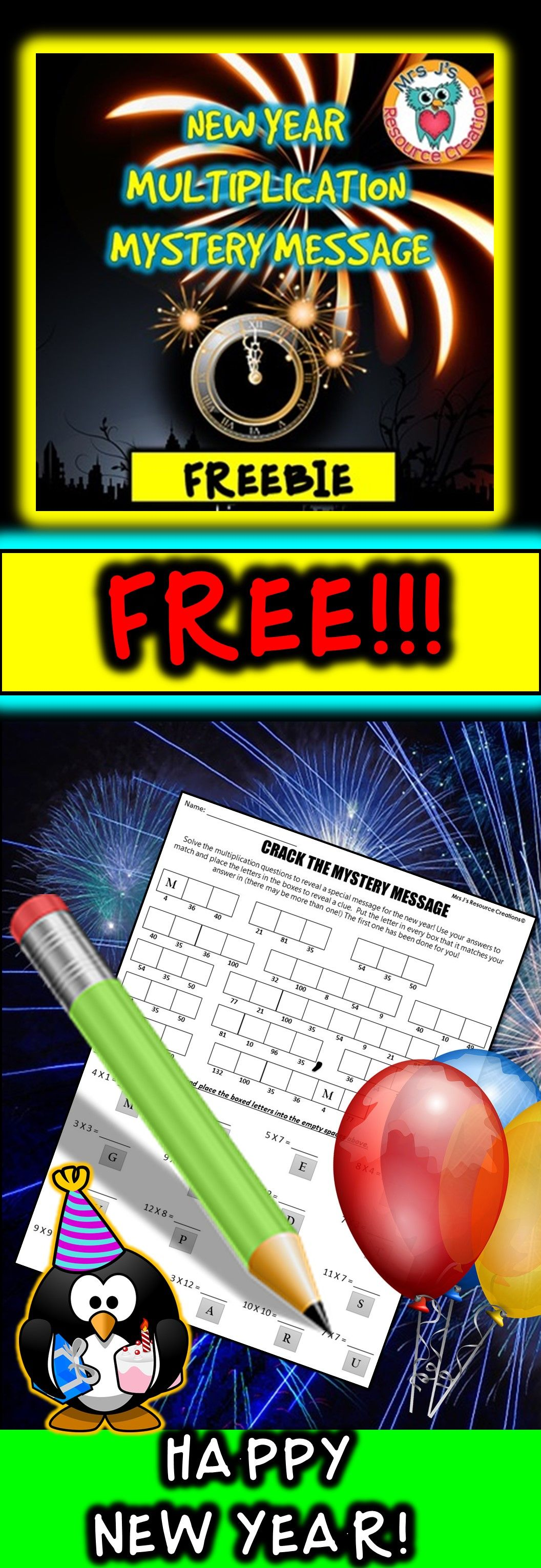 New Years Math Activity Worksheet Free