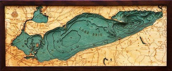 lake erie maps depths Lake Erie Depth Map Lake Erie 3d Nautical Wood Map Lake Art lake erie maps depths