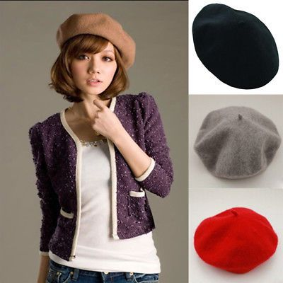 NEW Fashion Wool Warm Girls Women French Classic Beret Beanie Slouch Hat Cap Tam