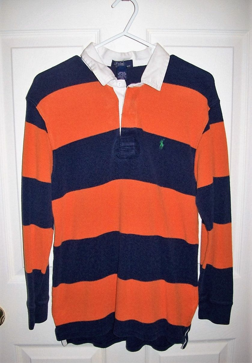 c81d90e61 Vintage Boys Navy & Orange Striped Rugby Shirt Polo by Ralph Lauren Only 6  USD by SusOriginals on Etsy