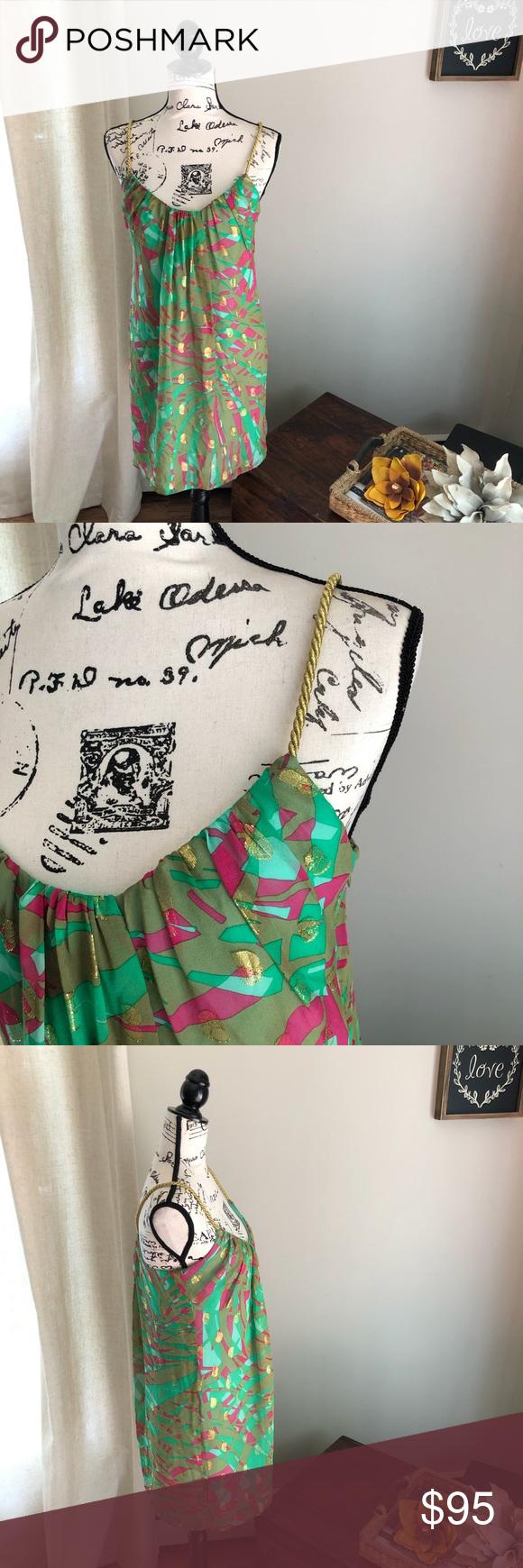An Original Milly New York Silk Metallic Dress Absolutely gorgeous quality & style. Tropical pattern mini dress