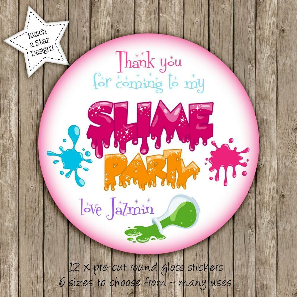 Slime birthday party personalised round gloss stickers x12 round