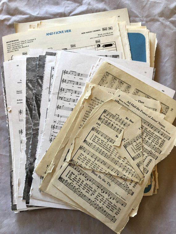 Old Sheet Music. 110+ Sheets of Shabby Old Sheet Music- Crafting or Display. Bulk Music. Ephemera, Wedding Decor, Petal Cups Scrapbooking #4