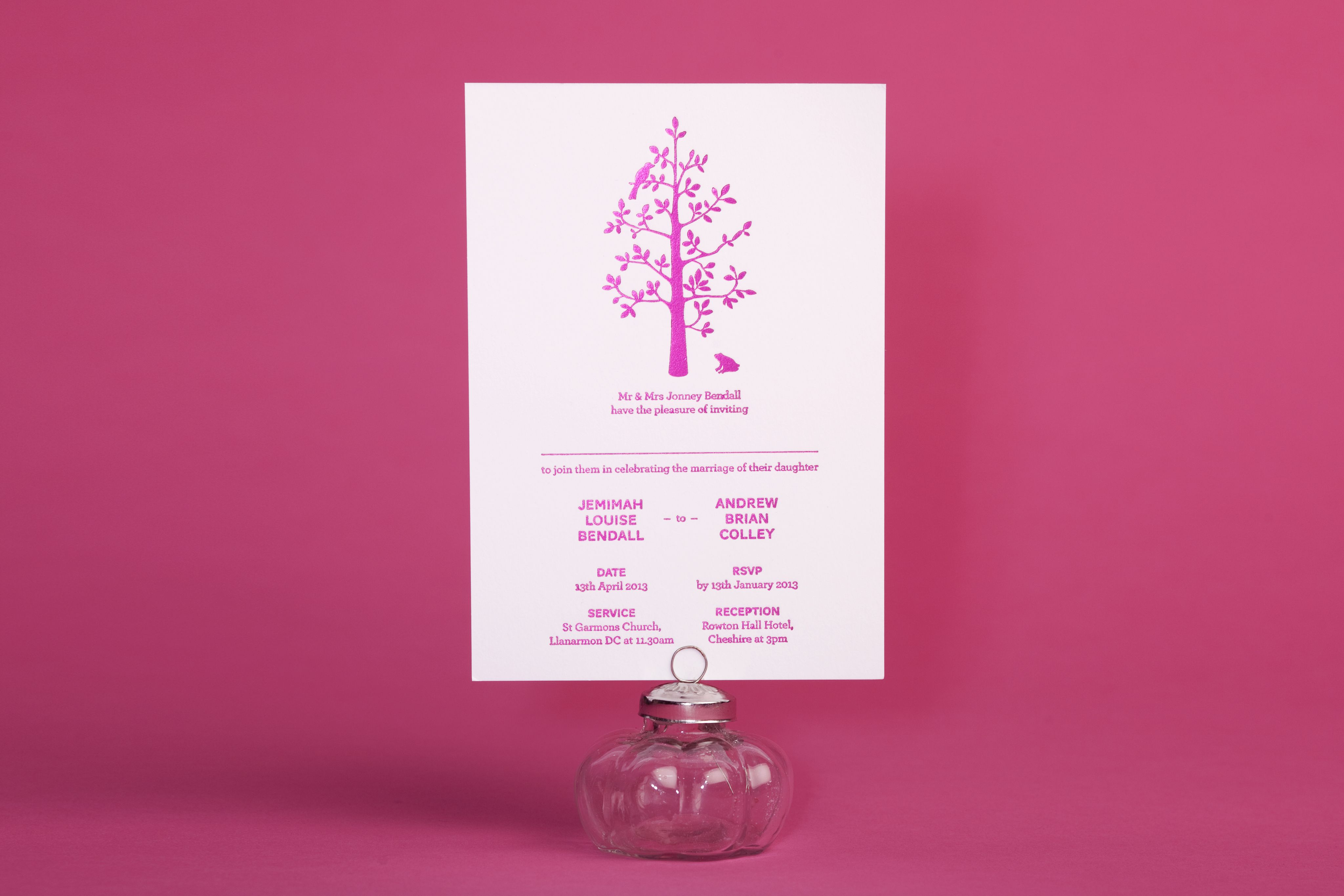 Hand-pressed Metallic Foil Wedding Invitation in Hot Pink. \'Harper ...