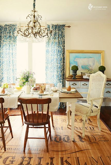 Blue Damask Drapeschandelierfarm Tablewooden Rugdining Awesome Mustard Dining Room Review