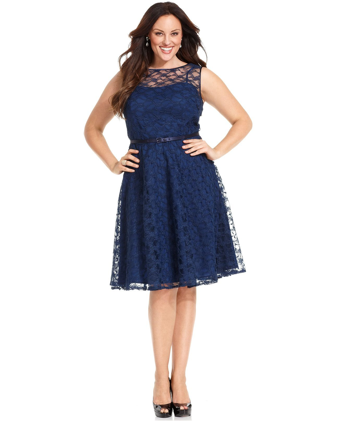 Jones New York Navy Dress, Sleeveless Lace Belted Full-Skirt ...