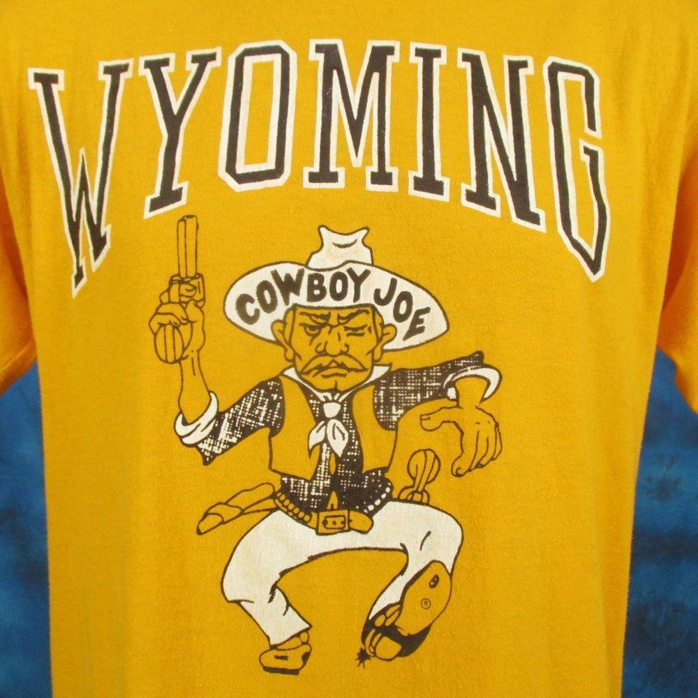 wholesale dealer 1e40e 25f4c vintage 80s UNIVERSITY OF WYOMING COWBOY JOE CARTOON T-Shirt ...