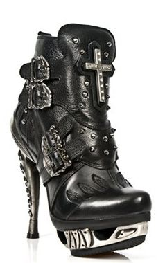 New Rock Black Leather Flame Ankle Boots M.MAG005-C2
