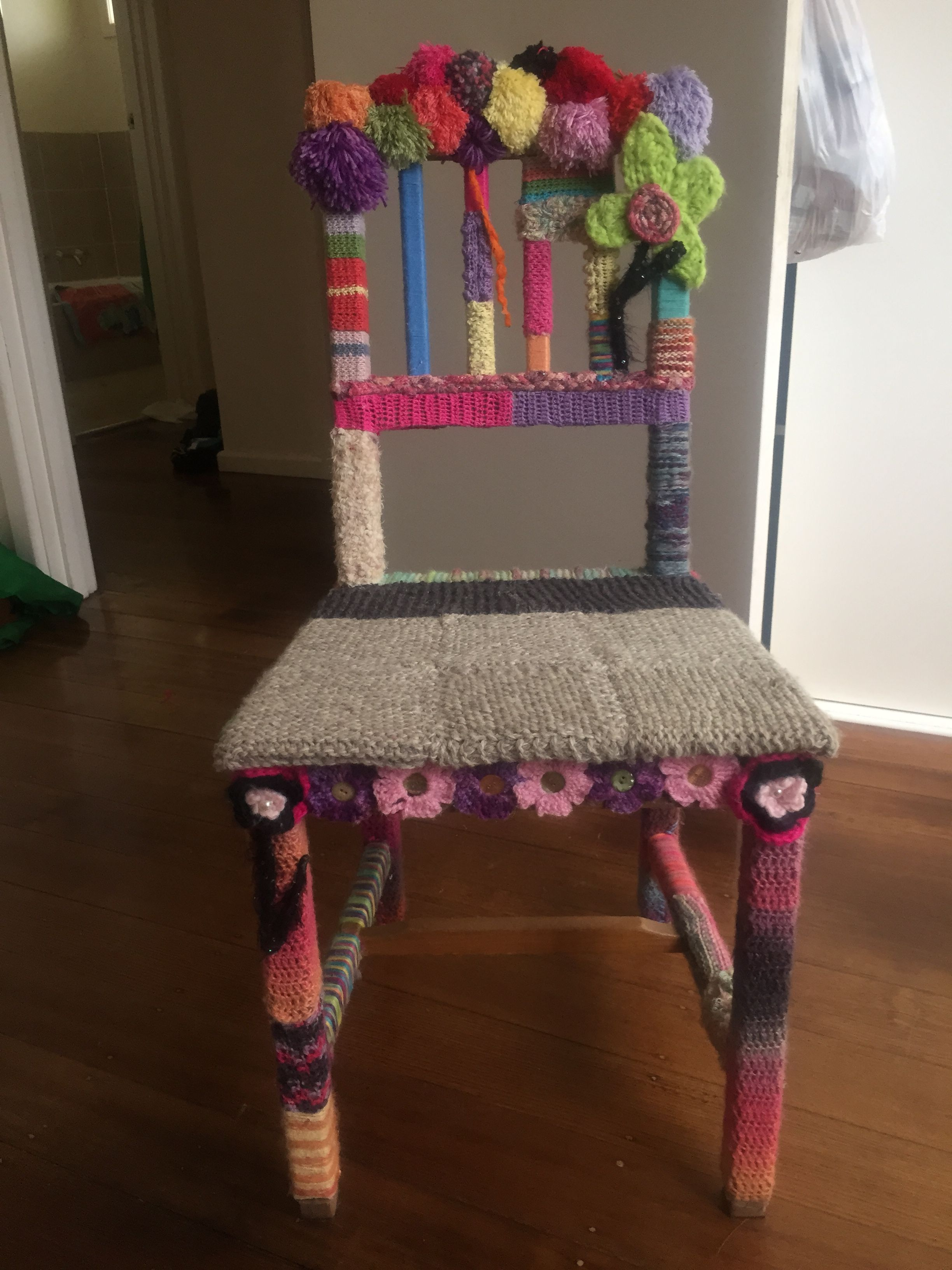 My Completed yarn bomb chair September 2015 | Yarn bombed chair ...
