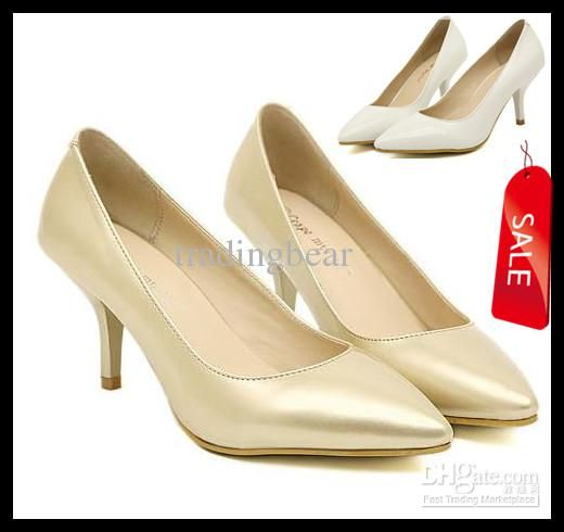Wholesale Nude Shoes - Buy 2013 Basic Sexy New Wedding Bridemaid White Gold Pointed Toe Pumps Light Gold/white Office Lady Shoes Size 35 to 39, $27.72 | DHgate