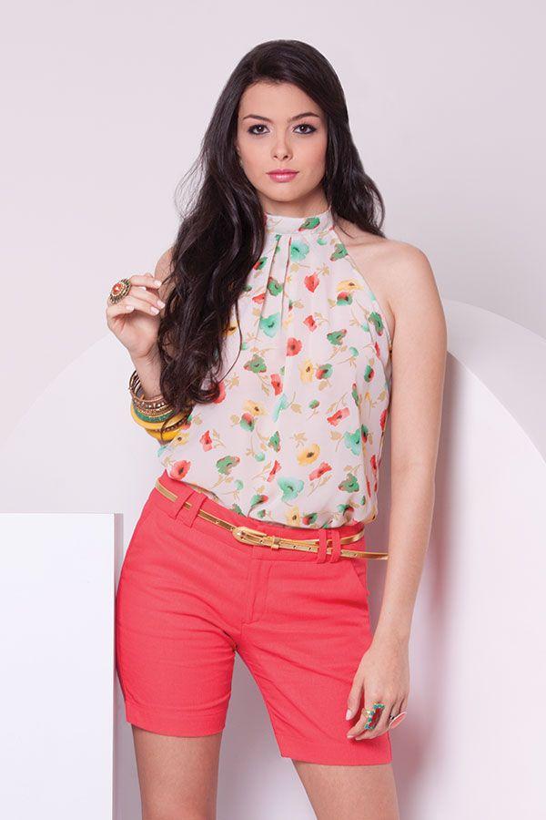 Blusa cuello halter estampada de flores y longshort de lino color coral. ZOCCAu0026#39;Su2026 | blusas sin ...