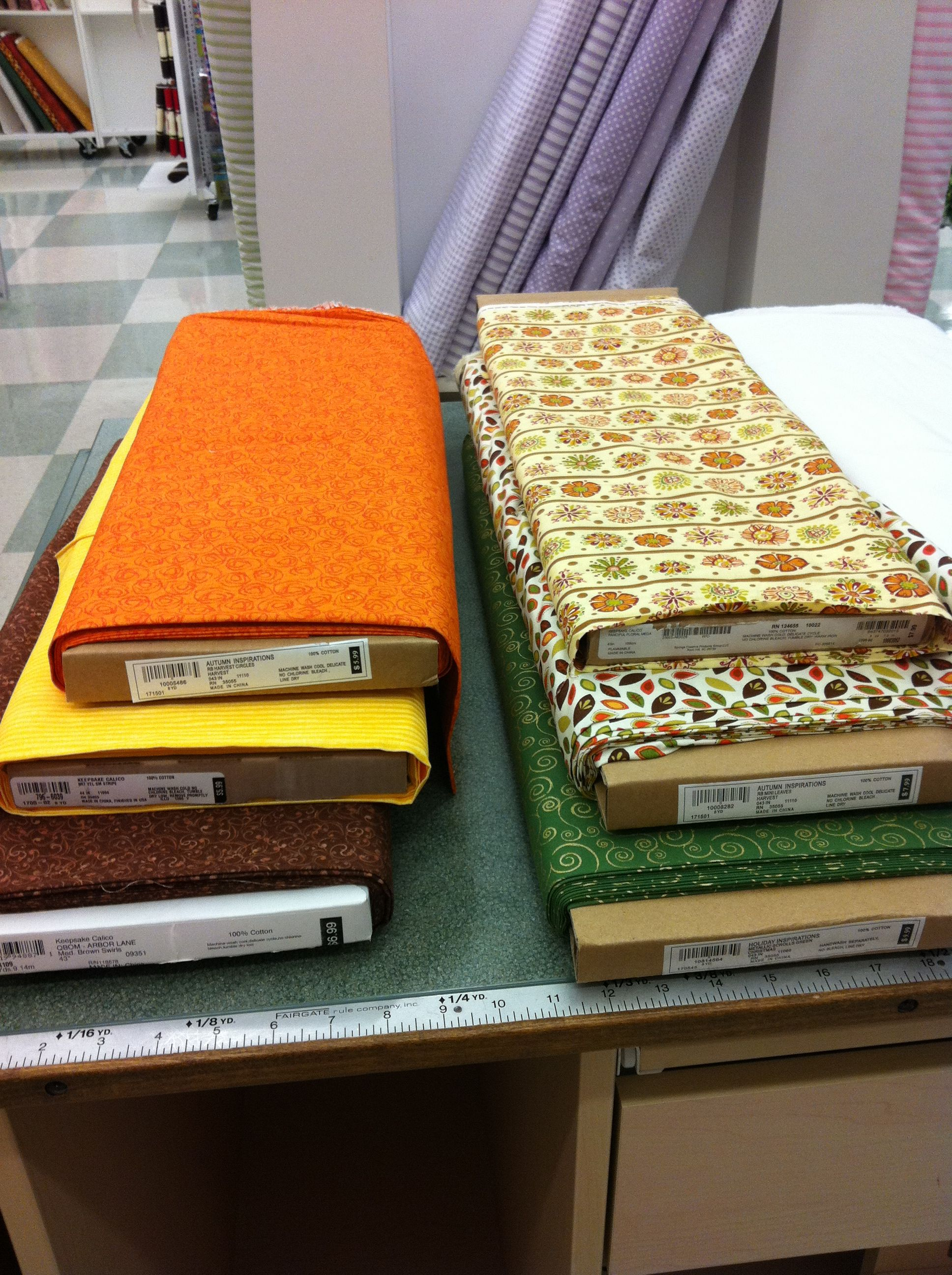 fabrics for a fall-inspired quilt i'm making (from jo-ann fabrics)