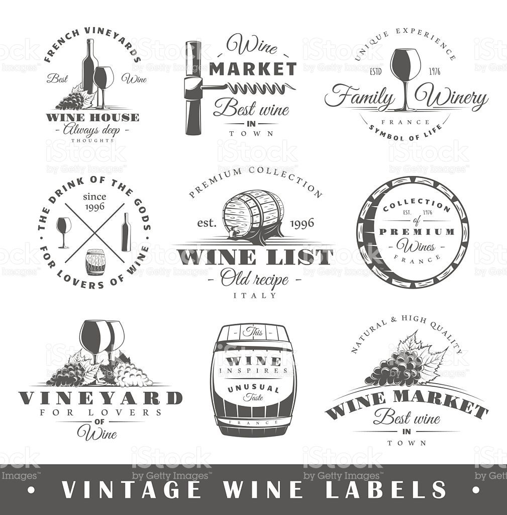 Set Of Wine Labels. Elements For Design On The Wine Theme