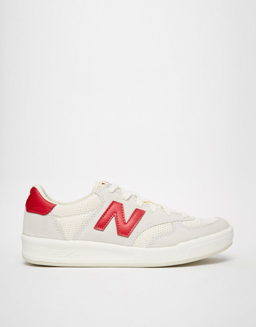 the latest ea9e7 f1cff Image 2 of New Balance 300 White Red Suede Trainers